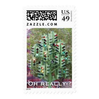 Traffic light joke postage stamp