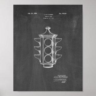 Traffic Light Patent - Chalkboard Poster