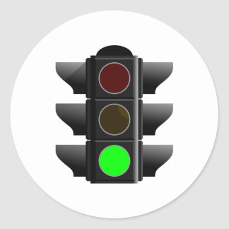 Traffic light traffic light green green classic round sticker