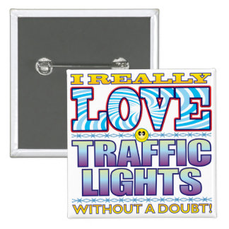 Traffic Lights Love Face 2 Inch Square Button