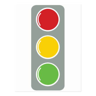 Traffic lights red green amber postcard