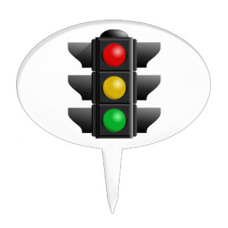 TRAFFIC LIGHTS RED YELLOW GREEN SIGNS DIRECTION CAKE TOPPERS