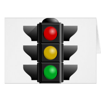 TRAFFIC LIGHTS RED YELLOW GREEN SIGNS DIRECTION GREETING CARD