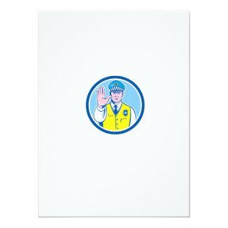 Traffic Policeman Hand Stop Sign Circle Cartoon 14 Cm X 19 Cm Invitation Card