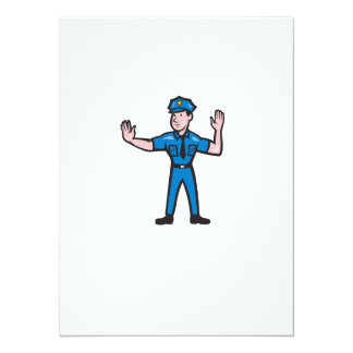 Traffic Policeman Stop Hand Signal Cartoon 14 Cm X 19 Cm Invitation Card