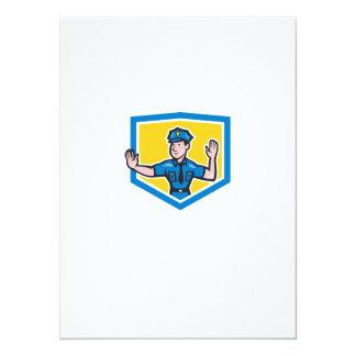 Traffic Policeman Stop Hand Signal Shield Cartoon 14 Cm X 19 Cm Invitation Card