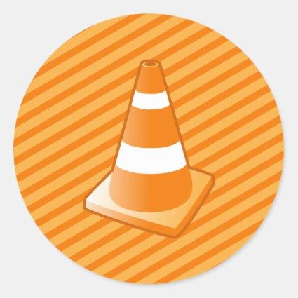 Traffic Safety Cone Round Stickers