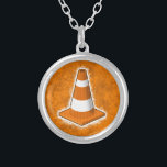 """Traffic Safety Cone Splatter Silver Plated Necklace<br><div class=""""desc"""">A bright orange traffic safety cone on a matching splatting paint background.</div>"""