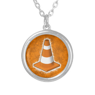 Traffic Safety Cone Splatter Silver Plated Necklace