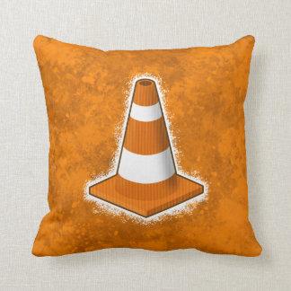 Traffic Safety Cone Splatter Throw Pillow