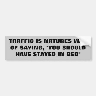 "Traffic Says ""You Should Have Stayed In Bed"" Bumper Sticker"