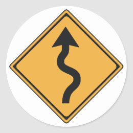 Winding road stickers zazzle traffic sign classic round sticker publicscrutiny Images