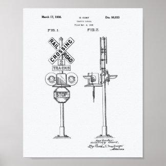 Traffic Signal 1936 Patent Art White Paper Poster