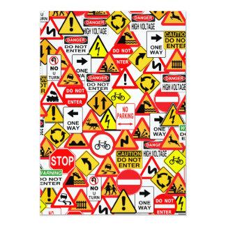 Traffic signs invitation - customize 13 cm x 18 cm invitation card