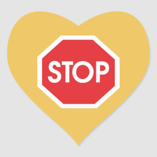 Traffic stop sign (infrastructure road works) heart sticker