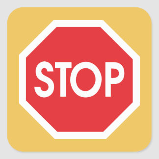 Traffic stop sign (infrastructure road works) square sticker
