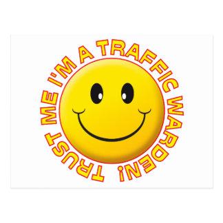 Traffic Warden Trust Me Smiley Postcard