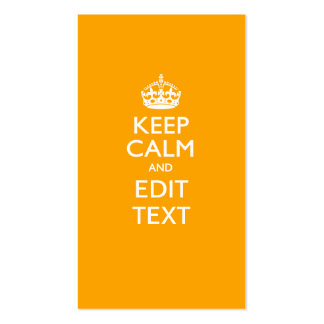 Traffic Yellow Background Keep Calm And Your Text Business Card