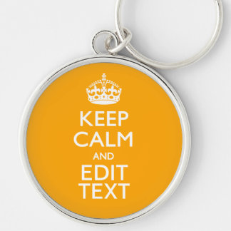 Traffic Yellow Decor Keep Calm And Your Text Keychain