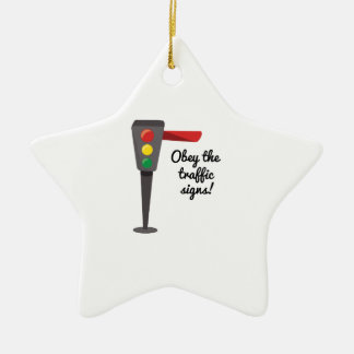 Traffice Obey Double-Sided Star Ceramic Christmas Ornament