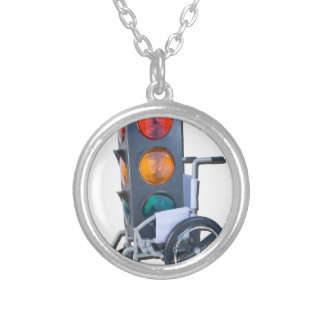 TrafficLightWheelchair052215 Silver Plated Necklace