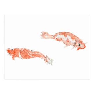 Tráfico bidireccional de los pescados - lápices de tarjetas postales