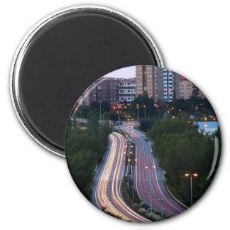 Tráfico de ciudad imán redondo 5 cm