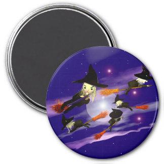 Tráfico de la bruja de Halloween Imán Redondo 7 Cm