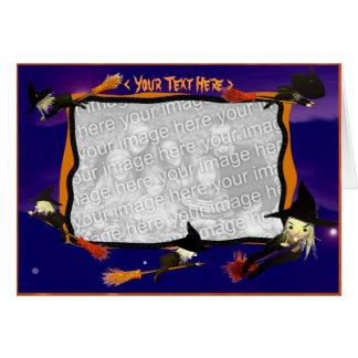 Tráfico de la bruja de Halloween (marco de la Tarjeta De Felicitación