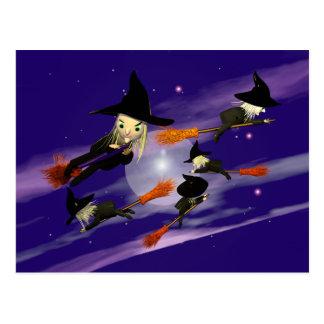 Tráfico de la bruja de Halloween Postal