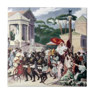 Tráfico de peatones en la manera de Appian Azulejo
