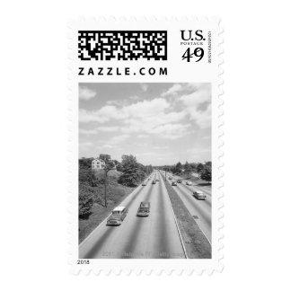 Tráfico en la carretera timbres postales