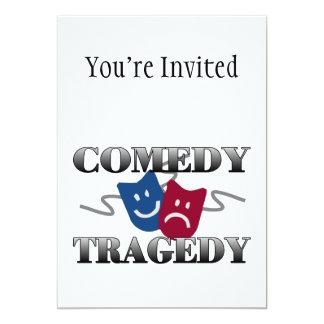 """Tragedia de la comedia invitación 5"""" x 7"""""""