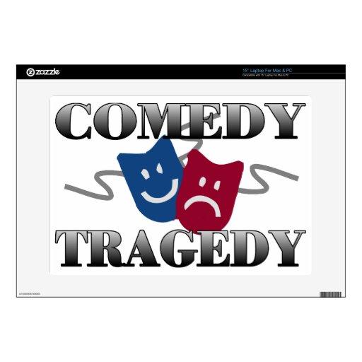 Tragedia de la comedia calcomanías para 38,1cm portátiles