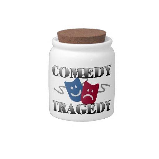 Tragedia de la comedia tarro de cerámica para dulces