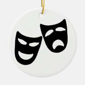 Tragedy and Comedy Masks Ceramic Ornament
