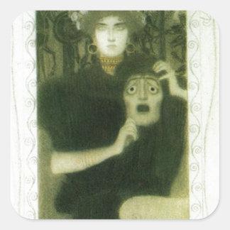 Tragedy by Gustav Klimt Square Sticker