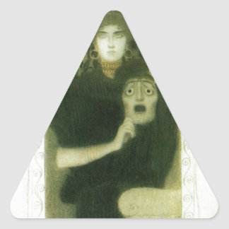 Tragedy by Gustav Klimt Triangle Sticker