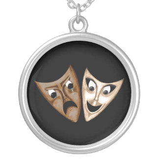 Tragedy & Comedy Round Pendant Necklace