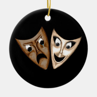 Tragedy & Comedy Double-Sided Ceramic Round Christmas Ornament