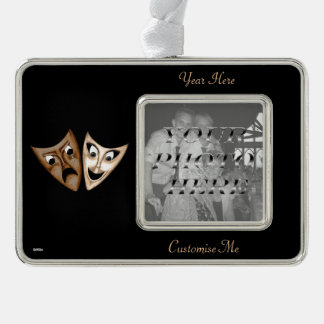 Tragedy & Comedy Silver Plated Framed Ornament