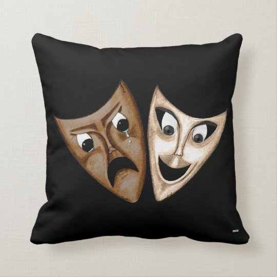 Tragedy & Comedy Throw Pillow