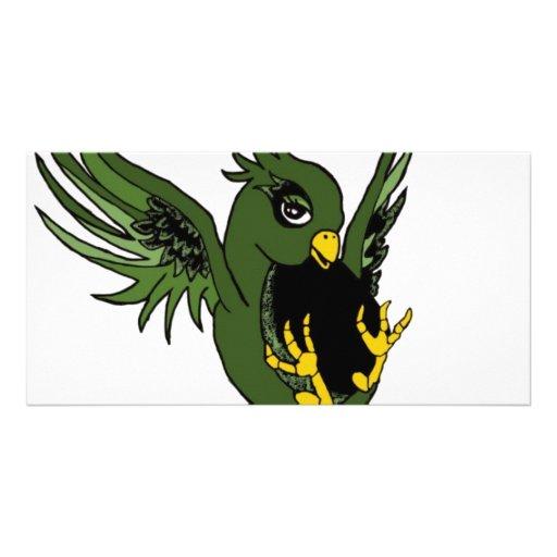 Trago verde y negro tarjetas fotográficas personalizadas