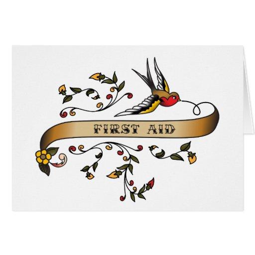 Trago y voluta con los primeros auxilios tarjeta de felicitación