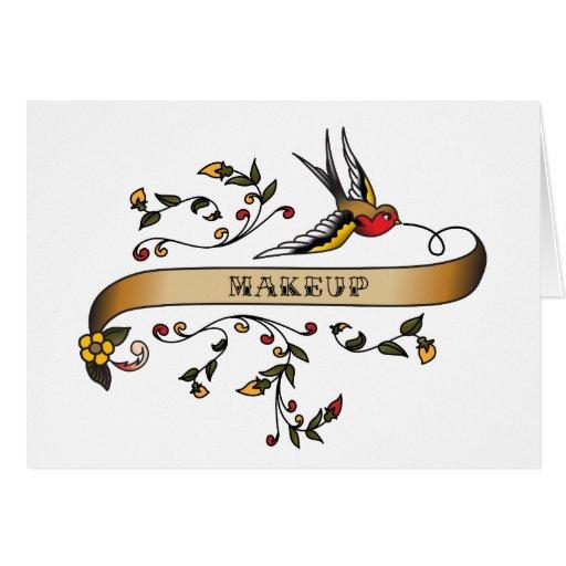 Trago y voluta con maquillaje tarjeta de felicitación