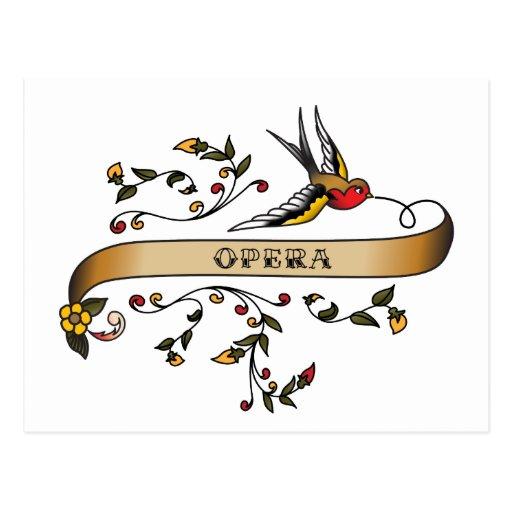 Trago y voluta con ópera tarjeta postal