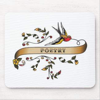 Trago y voluta con poesía mousepads
