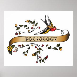 Trago y voluta con sociología póster