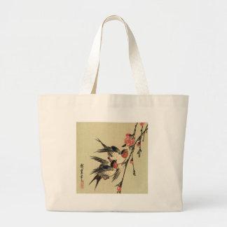Tragos de Hiroshige y flores del melocotón Bolsa Tela Grande