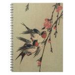 Tragos de Hiroshige y flores del melocotón Cuadernos